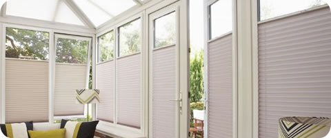 bottom up perfect fit blinds in conservatory