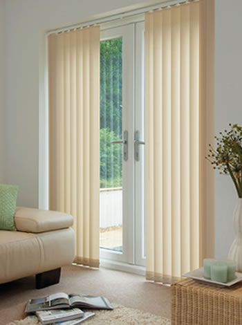 french doors with vertical blinds