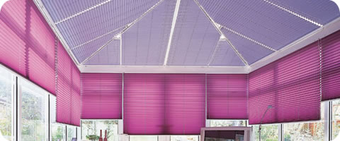 pleated blinds covering roof and sides